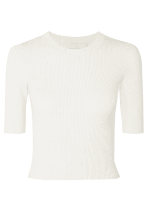 Dion Lee - Shadow Cropped Ribbed-knit Top - Ivory
