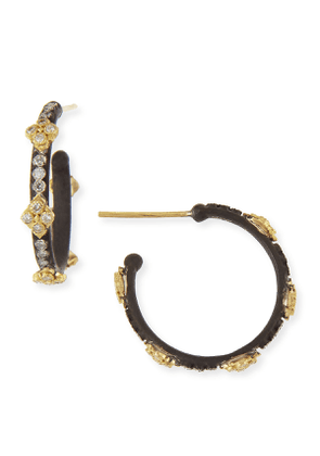 Small Midnight Hoop Earrings with Gold & Diamond Crivelli Crosses
