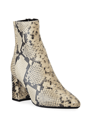 Posey Snake-Print Leather Booties