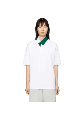 Lacoste White and Green Contrast Collar Polo