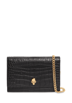Small Skull Croc Embossed Leather Bag