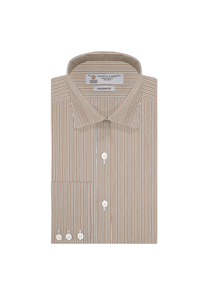 Brown Finely Striped Tailored Cotton Shirt