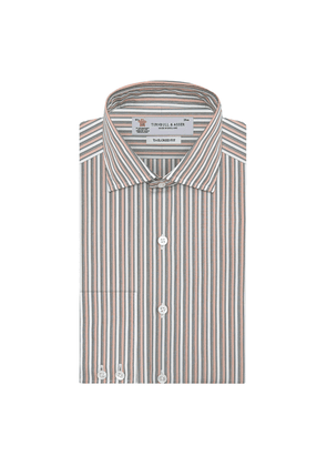 Pink and Grey Drawing Striped Tailored Cotton Shirt