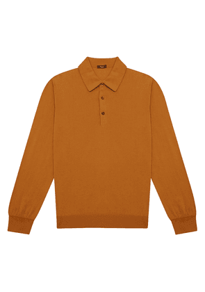 Brown and Gold Long-Sleeved Cotton Polo Shirt