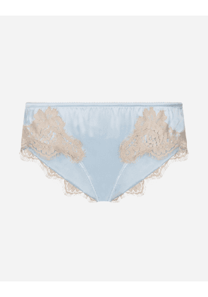 Dolce & Gabbana Underwear - SATIN BRIEFS WITH LACE LIGHT BLUE