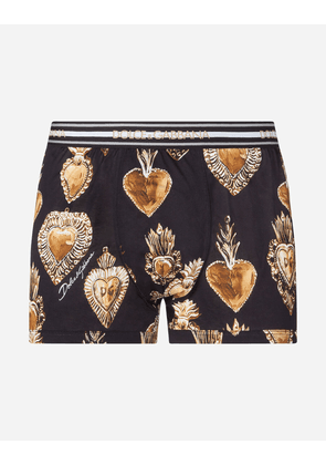 Dolce & Gabbana Underwear - COTTON JERSEY BOXERS WITH SACRED HEART PRINT BLACK