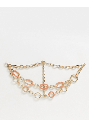 ASOS DESIGN link chain waist and hip belt in pink