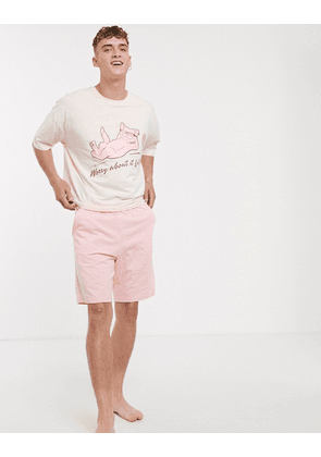 ASOS DESIGN lounge pyjama short and oversized tshirt set in pink with print