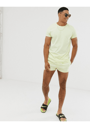 ASOS DESIGN co-ord swim short in pale lime yellow super short length-Blue
