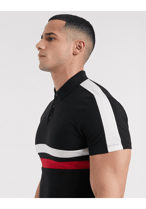 New Look polo with chest panel in black