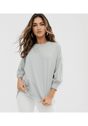 ASOS DESIGN washed sweatshirt with wide sleeve in sage-Green
