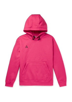 Nike - Acg Logo-embroidered Fleece-back Cotton-blend Jersey Hoodie - Pink