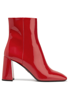 Prada - 85 Patent-leather Ankle Boots - Red