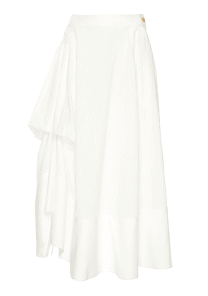 Loewe Gathered Paneled Cotton Midi Skirt Size: 38