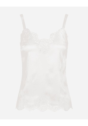 Dolce & Gabbana Underwear - SATIN LINGERIE TOP WITH LACE WHITE