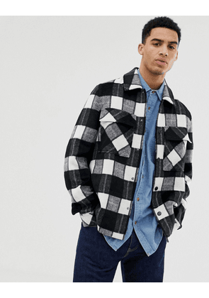 ASOS DESIGN unlined wool mix jacket in black and white check