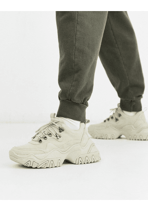 ASOS DESIGN hiker trainers in stone with chunky cleated sole-Tan
