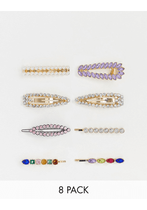 ASOS DESIGN pack of 8 hair clips in mixed colour crystal and pearl designs-Multi