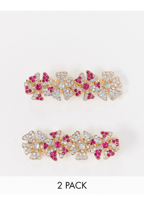 ASOS DESIGN pack of 2 hair clips in pretty crystal embellished floral design in gold tone