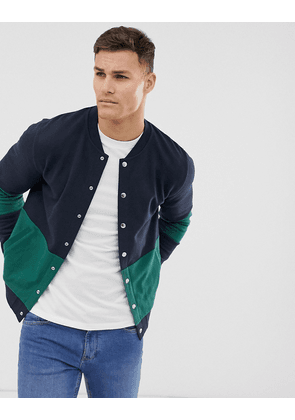 ASOS DESIGN bomber jacket with poppers and colour blocking in navy