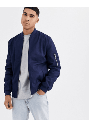ASOS DESIGN bomber jacket with MA1 pocket in navy