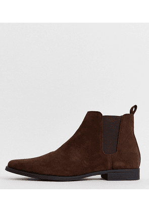 ASOS DESIGN Wide Fit chelsea boots in brown faux suede