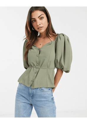 ASOS DESIGN button front tea blouse with puff sleeve-Green