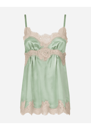 Dolce & Gabbana Underwear - TOP WITH SILK SHOULDER AND LACE DETAIL LIGHT BLUE
