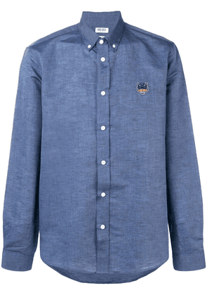 Kenzo button down logo embroidered shirt - Blue