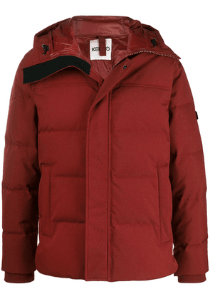 Kenzo hooded logo patch padded jacket - Red