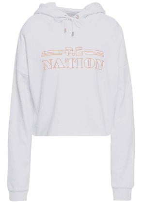 P.e Nation Neon-trimmed Printed Cotton-fleece Hooded Sweatshirt Woman White Size S