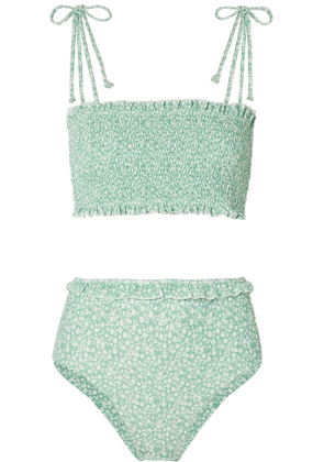 Faithfull The Brand - Adeline And Wildflower Smocked Floral-print Bikini - Mint