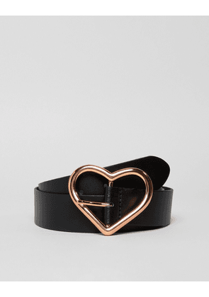 ASOS DESIGN leather heart buckle waist and hip jeans belt in rose gold-Black