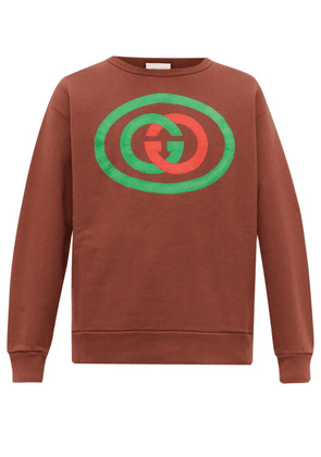 Gucci - Gg Logo Print Cotton Jersey Sweatshirt - Mens - Brown
