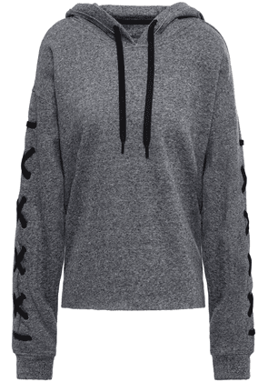 Dkny Lace-up Printed Cotton-blend Fleece Hooded Sweatshirt Woman Anthracite Size XS