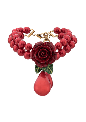Dolce & Gabbana rose and drop pendant necklace - Red
