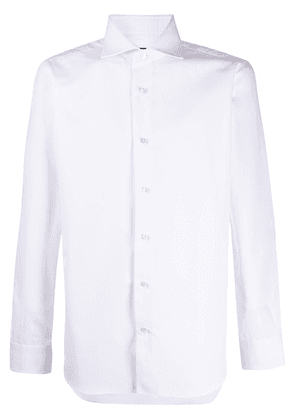 Barba long-sleeved plain shirt - White
