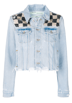 Off-White checkered sequin denim jacket - Blue