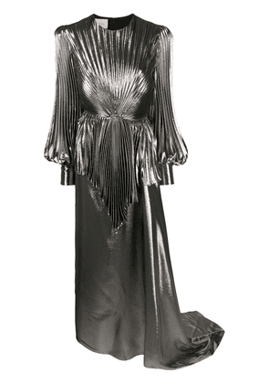 Gucci balloon-sleeve pleated lamé gown - Grey