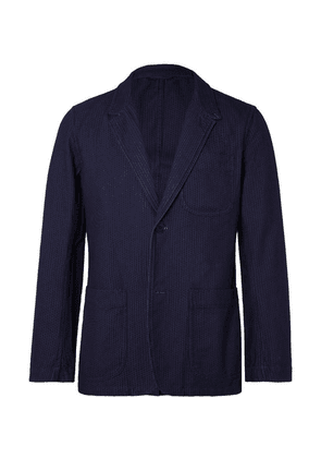 Blue Blue Japan - Navy Embroidered Cotton Blazer - Blue