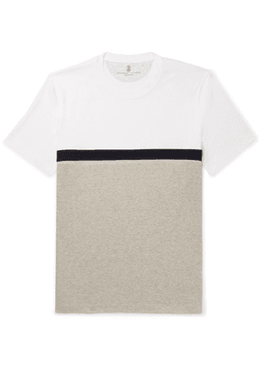 Brunello Cucinelli - Slim-fit Panelled Striped Cotton-jersey T-shirt - White