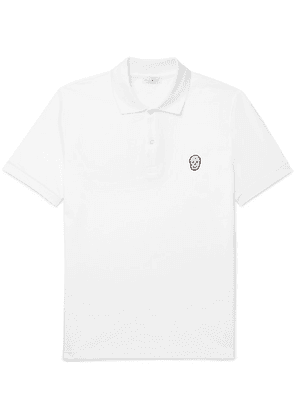 Alexander McQueen - Slim-fit Skull-embellished Organic Cotton-piqué Polo Shirt - White