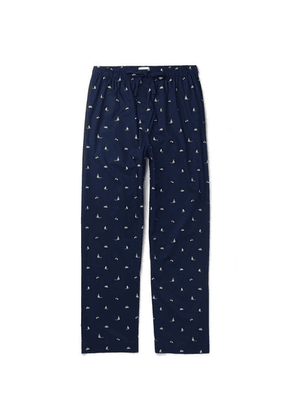 Derek Rose - Nelson 73 Printed Cotton-poplin Pyjama Trousers - Navy