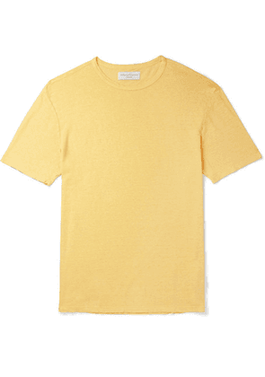 Officine Generale - Pigment-dyed Linen T-shirt - Yellow