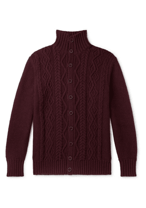 Anderson & Sheppard - Cable-knit Merino Wool Cardigan - Burgundy