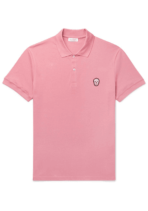 Alexander McQueen - Slim-fit Skull-embellished Organic Cotton-piqué Polo Shirt - Pink