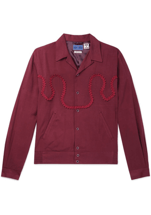 Blue Blue Japan - Camp-collar Braid-embellished Twill Shirt Jacket - Burgundy