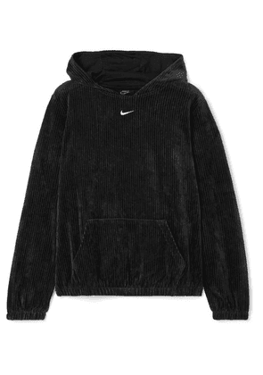 Nike - Ribbed Cotton-blend Velour Hoodie - Black