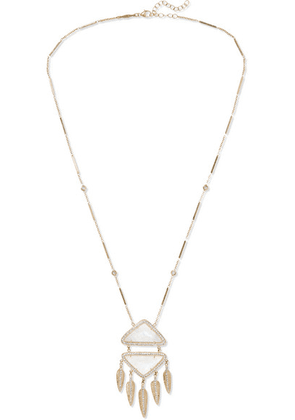 Jacquie Aiche - Feather 14-karat Gold, Moonstone And Diamond Necklace - one size