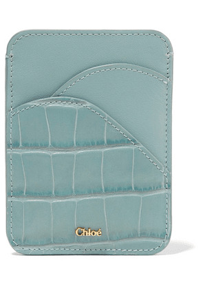 Chloé - Walden Smooth And Croc-effect Leather Cardholder - Blue
